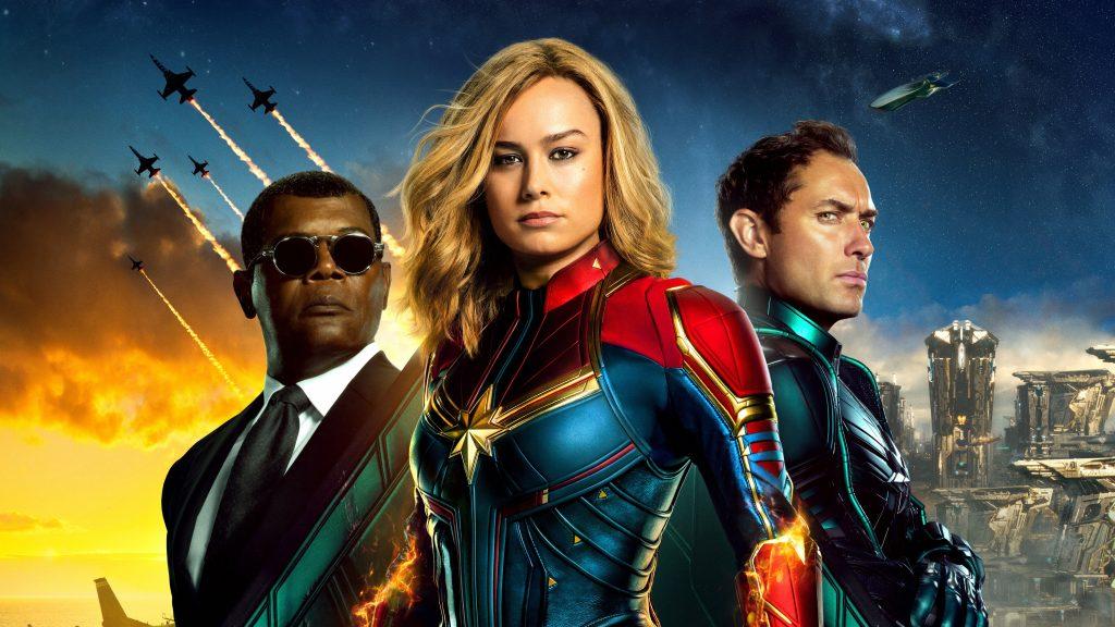 Captain Marvel, three people