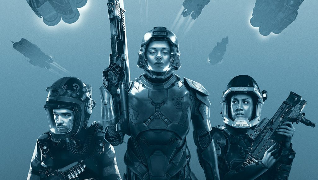 The Expanse, Three people in spacesuits