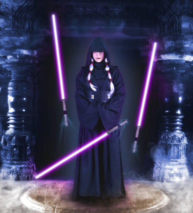 a woman with three floating lightsabers