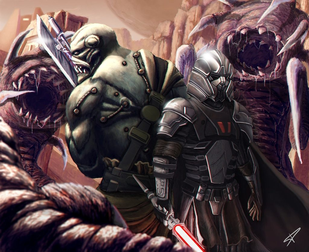 most powerful sith, two men fight monsters