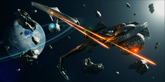a star trek spaceship fires from a phaser to another spaceship