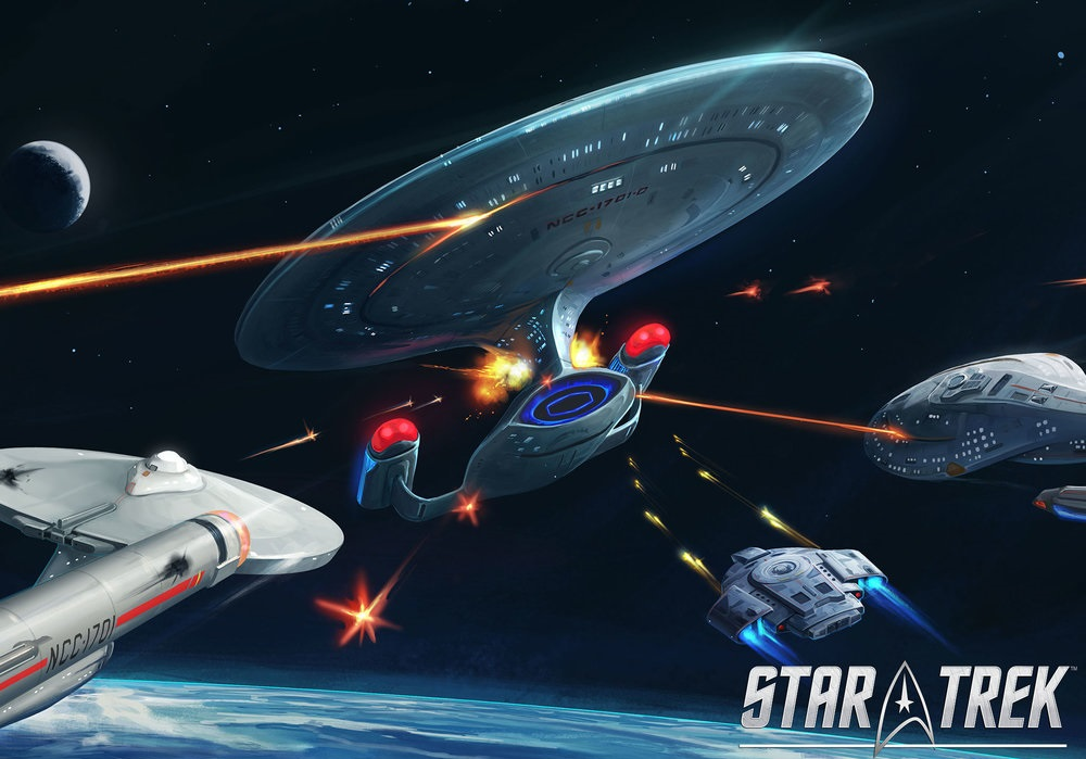 Star Trek phasers, several spaceships are fighting