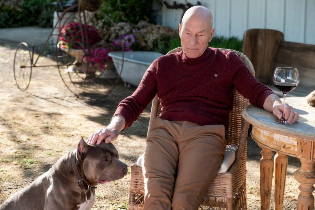 Picard a man is sitting in a chair with a dog next to him