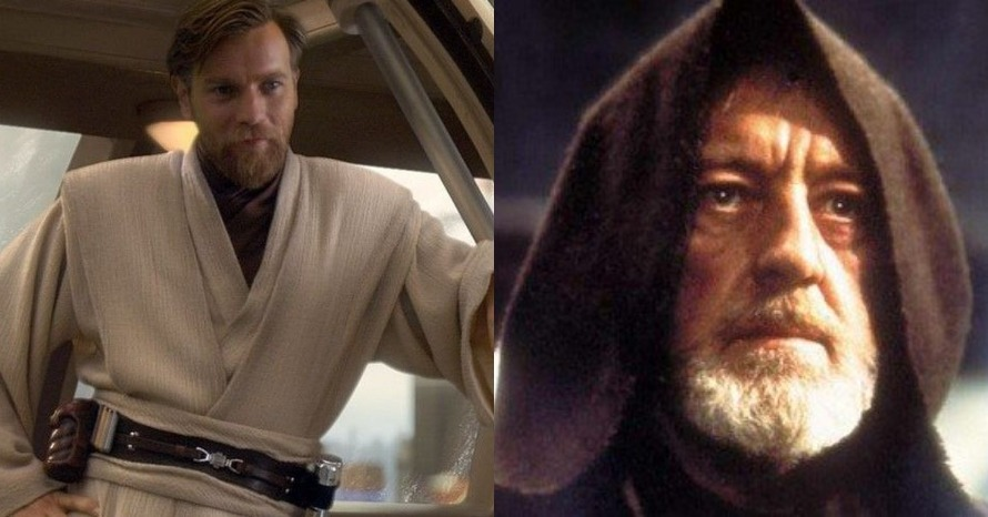 Obi-Wan, two men, one hooded man