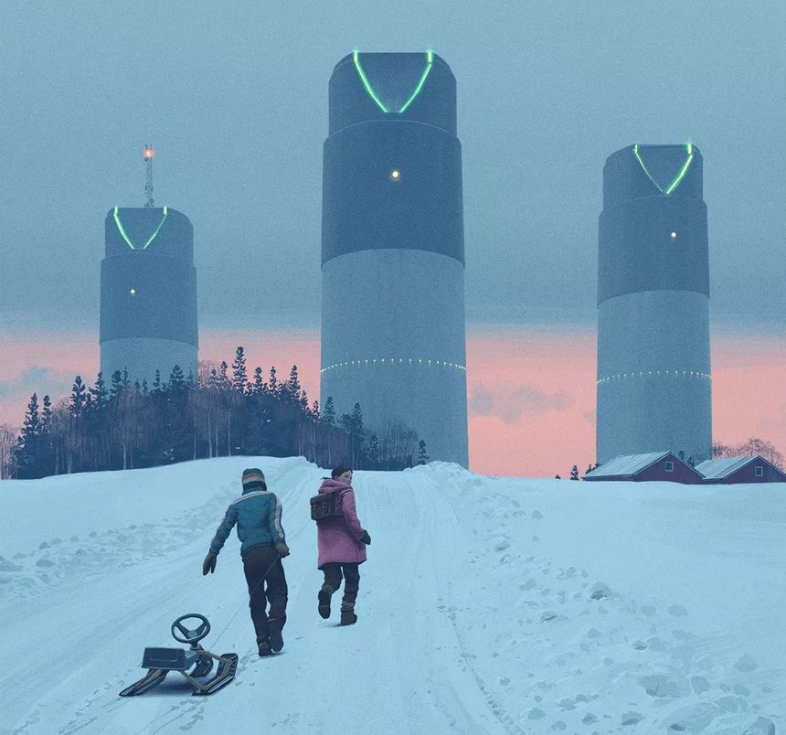 SciFi series boy and girl walking in the snow in front of 3 towers