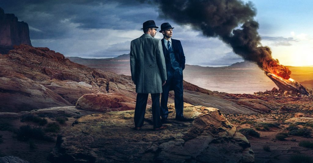 Project Blue Book, two men standing, a spacecraft crashed