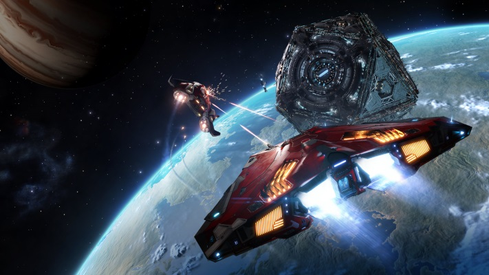 Two spaceships are fighting