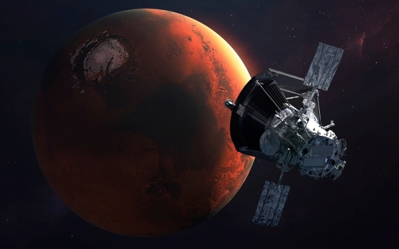 Mars Rovers, a space probe is approaching a red planet