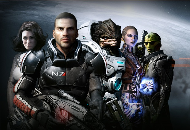 Several people and aliens in combat suits with weapons in space