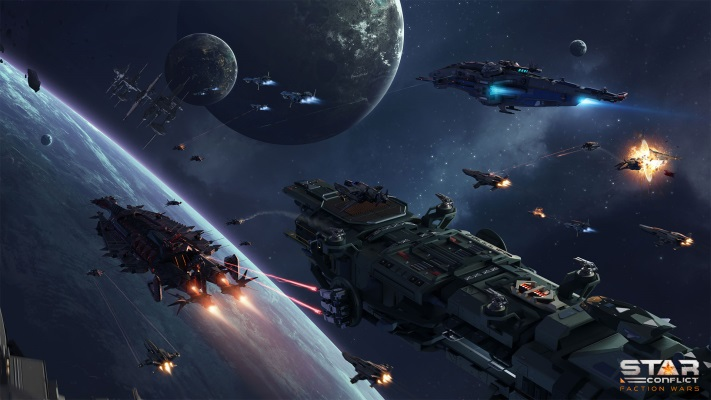 Space Games, several spaceships fly towards the planets