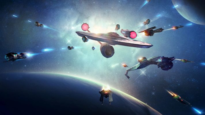 Space Games, several spaceships are flying