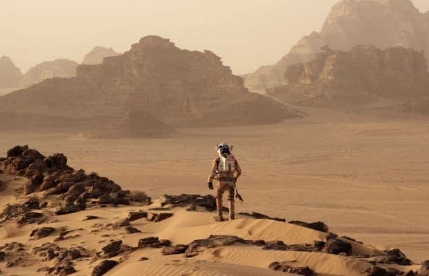 An astronaut on a deserted planet