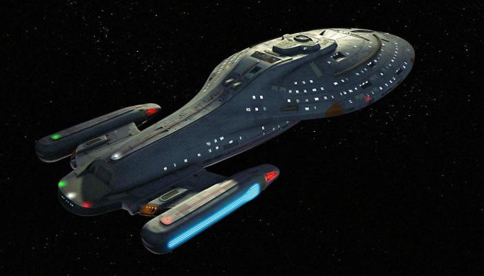 Star Trek ships USS Voyager flying