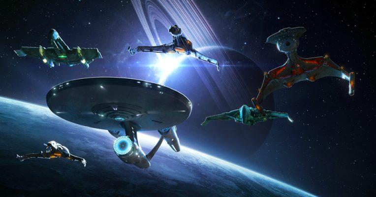 Star Trek ships near planet