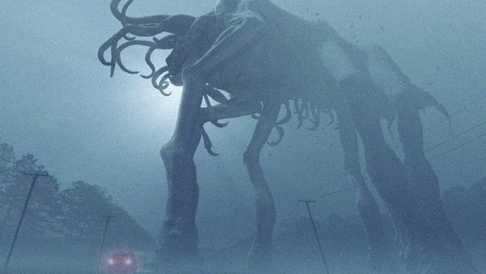 A terrifying monster in the fog