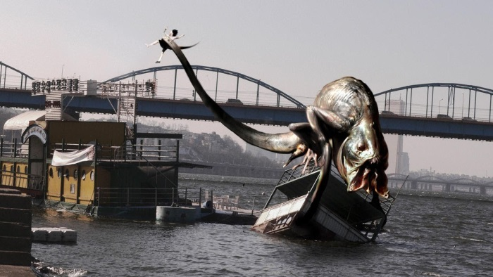 A terrifying amphibious creature on the river